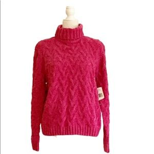 Evan Picone Pink Cable Chenille Turtleneck Sweater